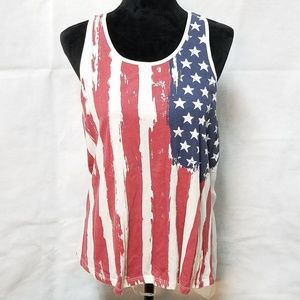 Rue21 Red White Blue Flag Patriotic Tank Top Sz L